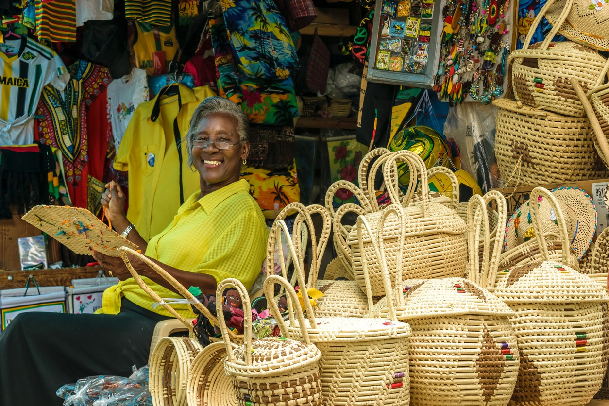 Jamaican woman selling baskets