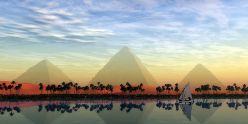 Nile River and Pyramids