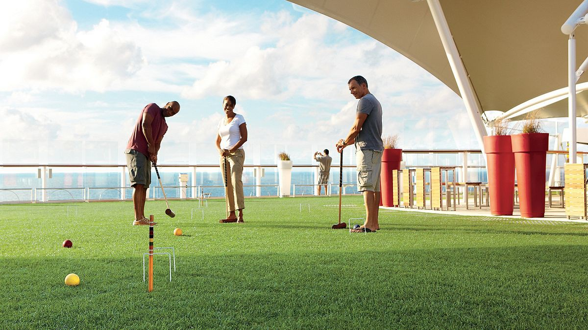 Playing croquet aboard Celebrity Equinox